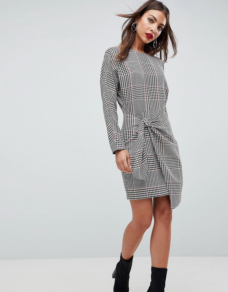 ee160fb174480 Lyst - ASOS Asos Checked 80 s Mini Dress With Circle Belt in Gray