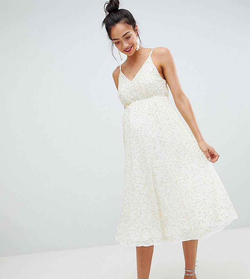 e6f200ae70 ASOS. Women s Asos Design Maternity Delicate Sequin Midi Plunge Dress With Full  Skirt