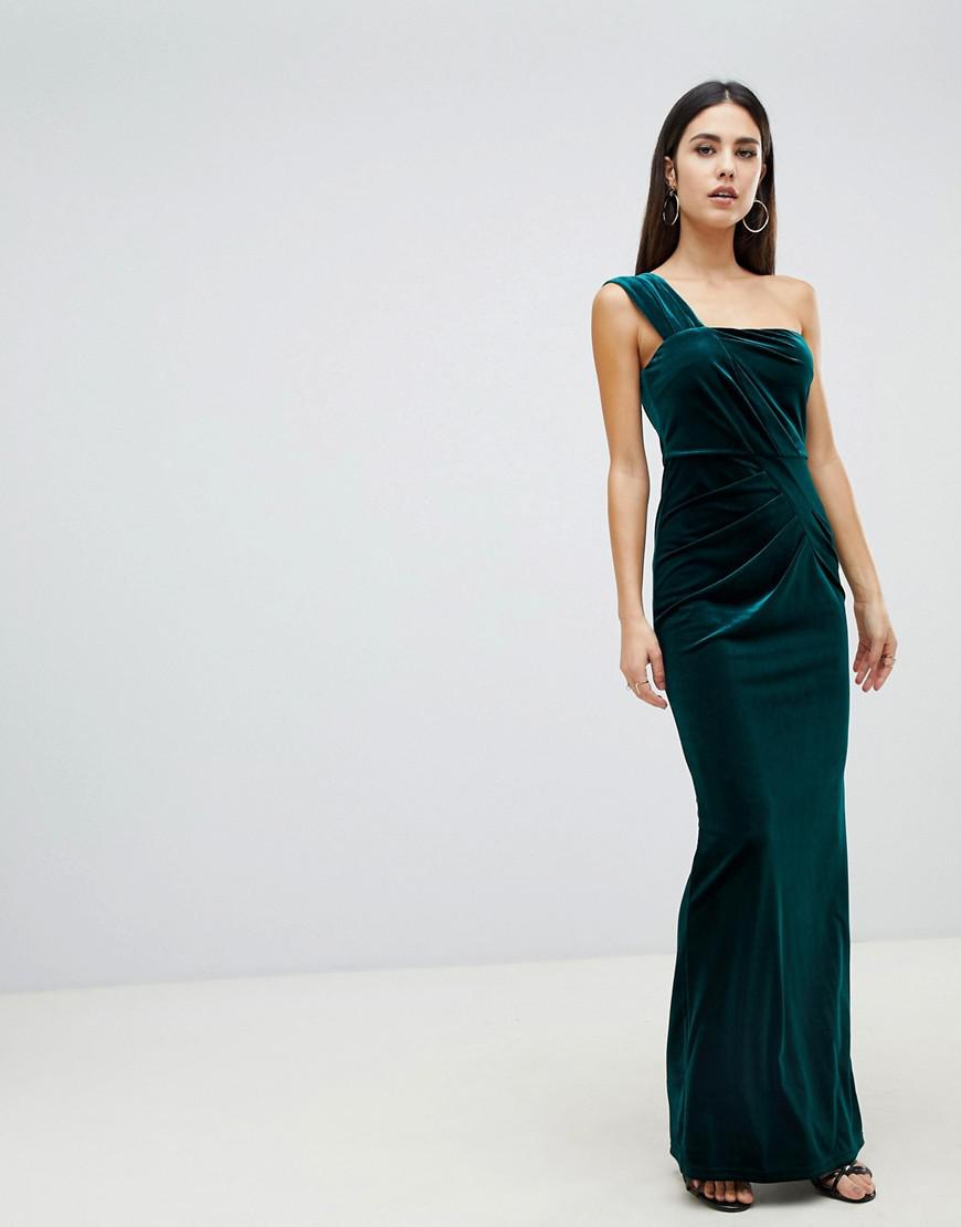 9039bafc642d Lyst - ASOS One Shoulder Velvet Maxi Dress With Ruched Detail in Green