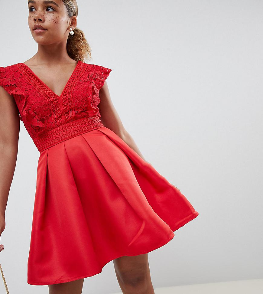 b59326be70 Little Mistress. Women s Red Frilly Lace Mini Skater Prom Dress In  Pomegranate