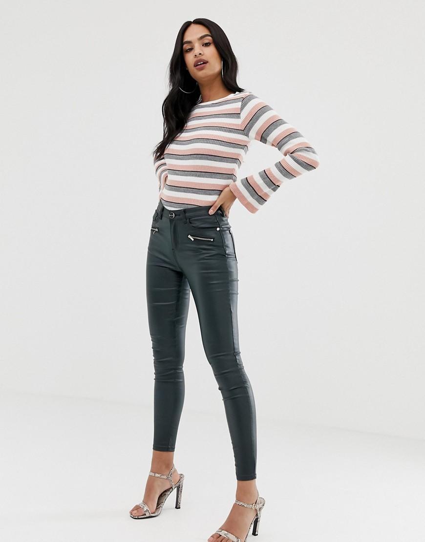 b37c45e7008870 Lyst - Lipsy Coated Skinny Jeans in Green