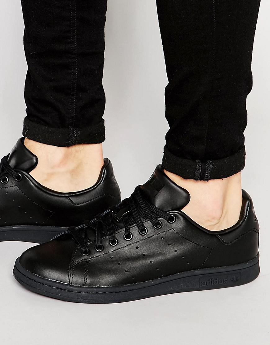 Lyst adidas stan smith in cuoio nero originali dei formatori m20327