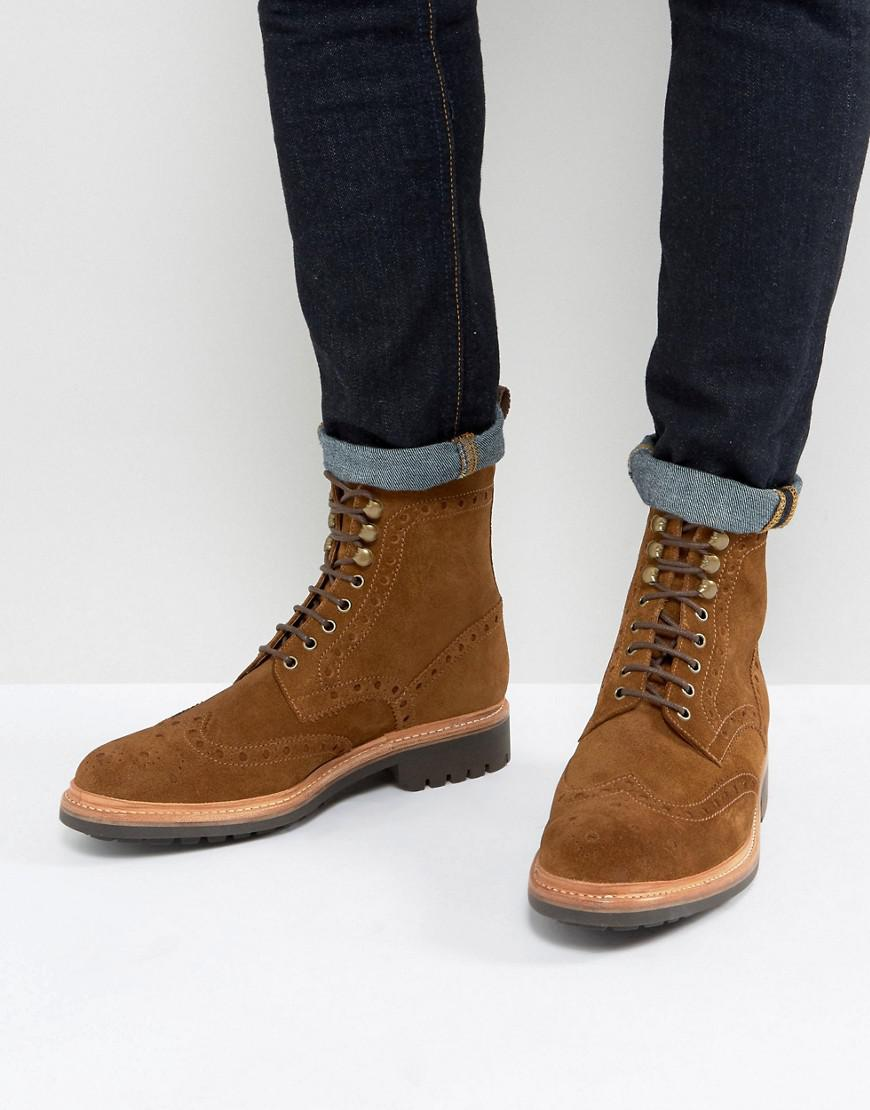 b1eede9919c Grenson Fred Suede Brogue Boots in Brown for Men - Lyst