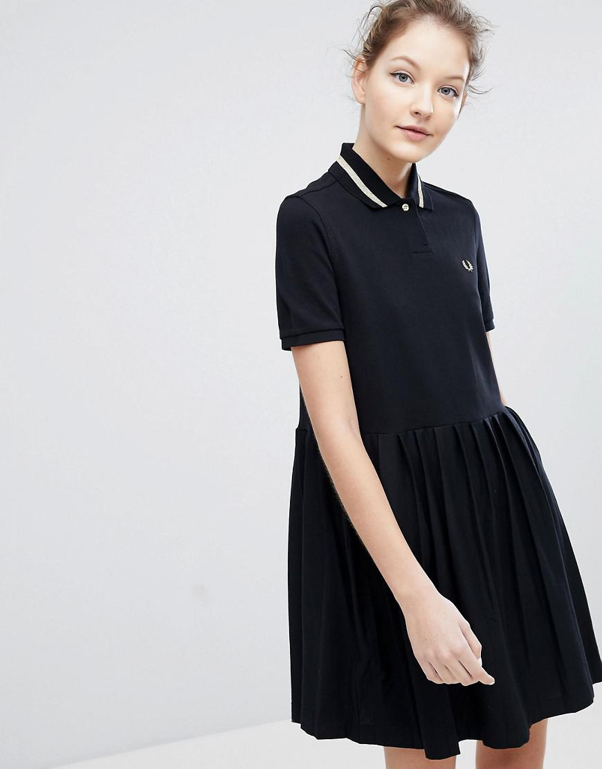 Fred Perry. Women\u0027s Black Pleated Hem Pique Polo Dress