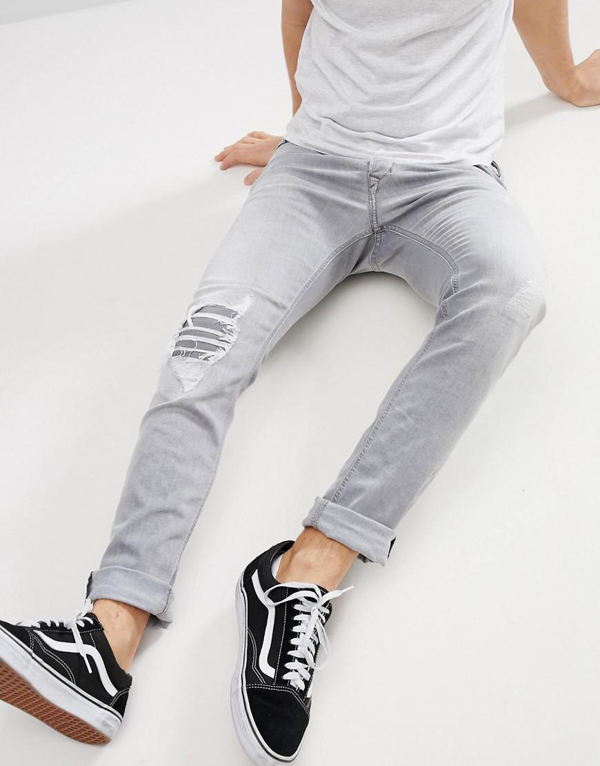 2c6bce40c67 Diesel Tepphar Skinny Jeans In Light Grey Wash in Gray for Men - Lyst