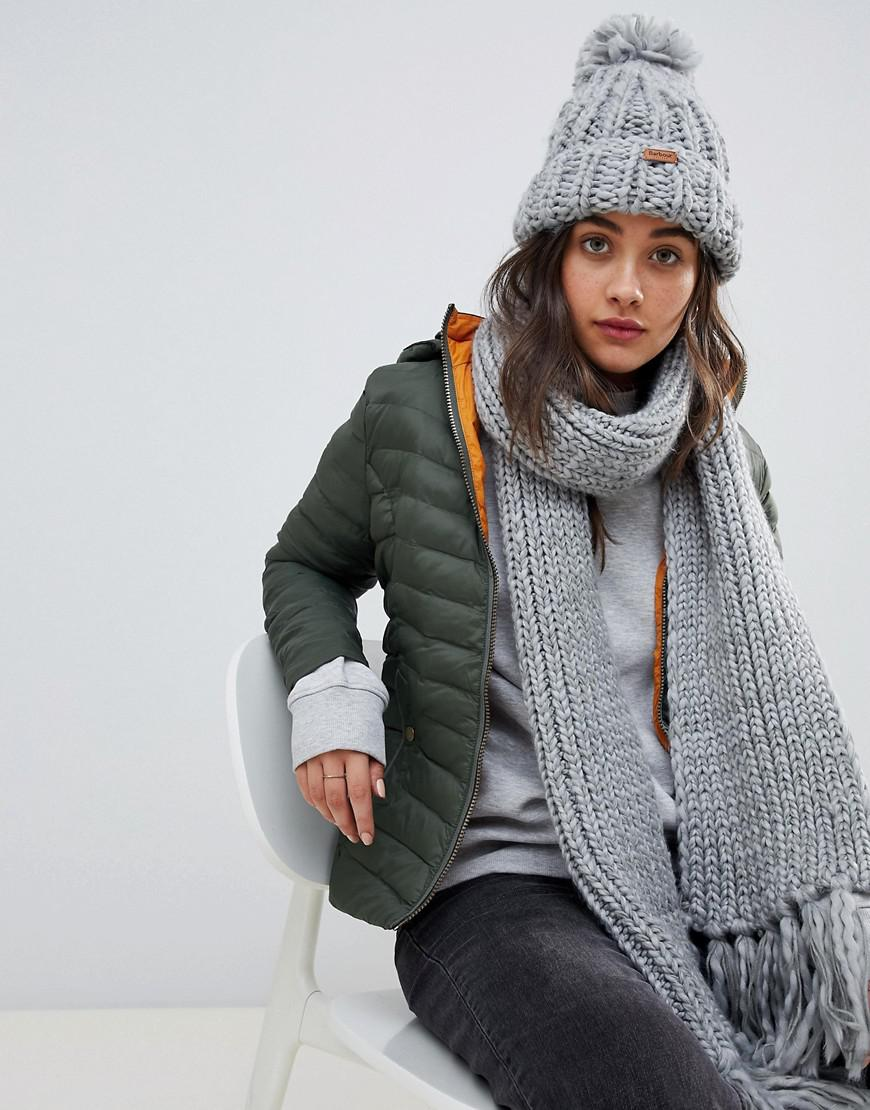 Barbour Chunky Knit Bobble Hat And Scarf Set in Gray - Lyst 0d05a70874d