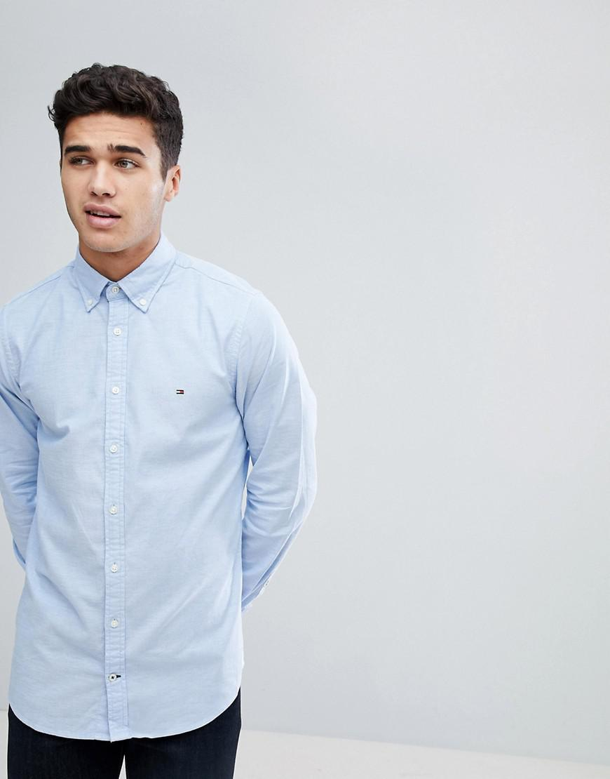adac5e35 Tommy Hilfiger Oxford Shirt With Stretch In Slim Fit In Blue in Blue ...