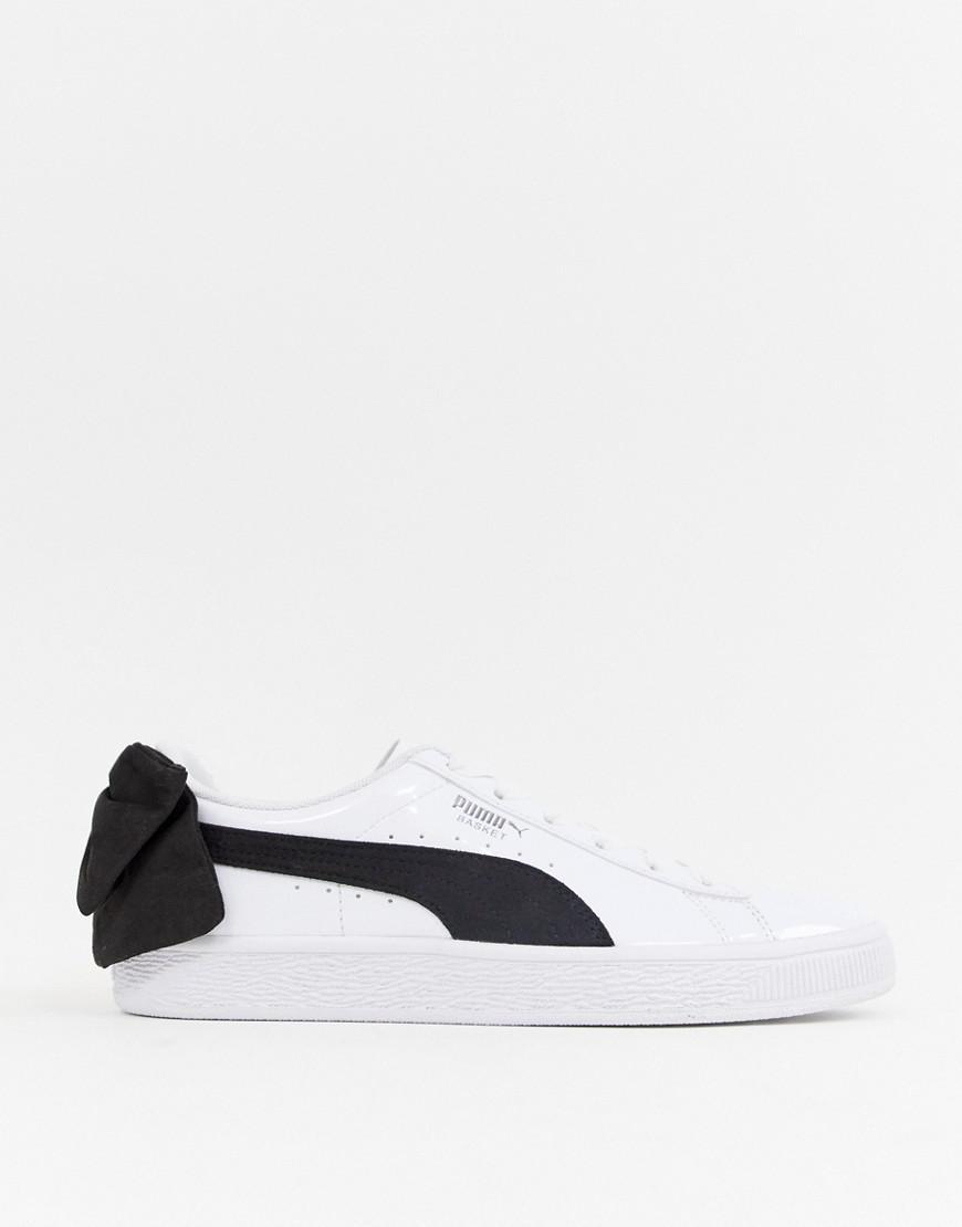 c2b841cd54108a Lyst - PUMA Basket Black Bow White Sneakers in Black