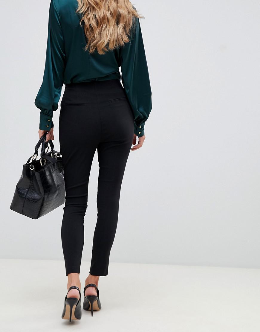 4de08e7625e ASOS High Waist Trousers In Skinny Fit in Black - Lyst