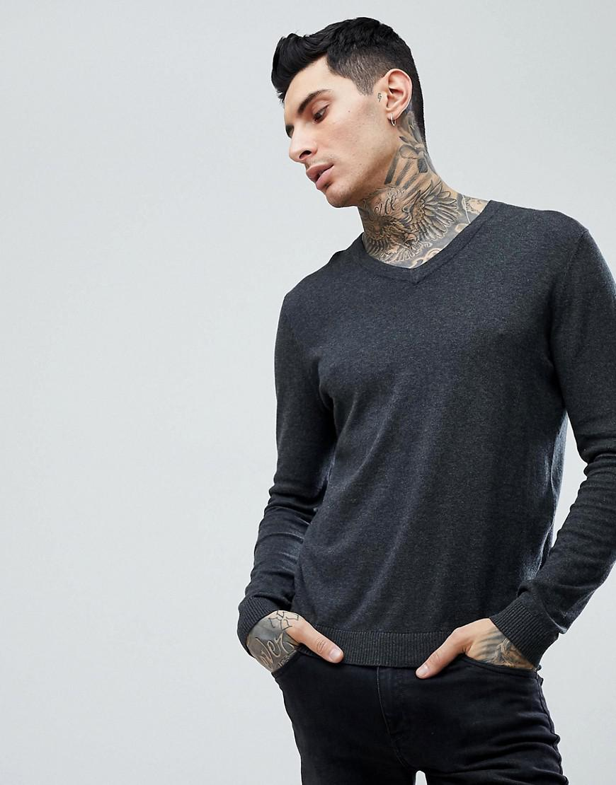d9ab9649 Lyst - ASOS Cotton V-neck Sweater In Charcoal in Gray for Men