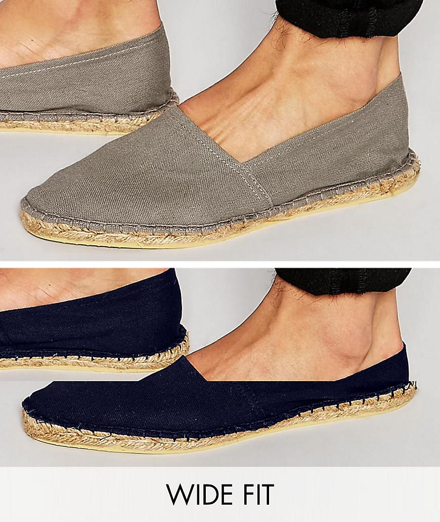 Canvas Espadrilles In Black And Grey 2 Pack SAVE - Multi Asos Oigomy
