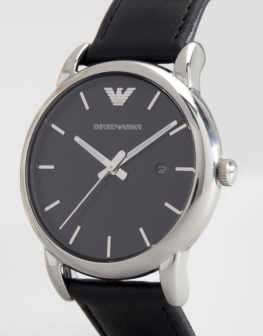 e6324efe4 Emporio Armani Ar1692 Leather Strap Watch in Black for Men - Lyst