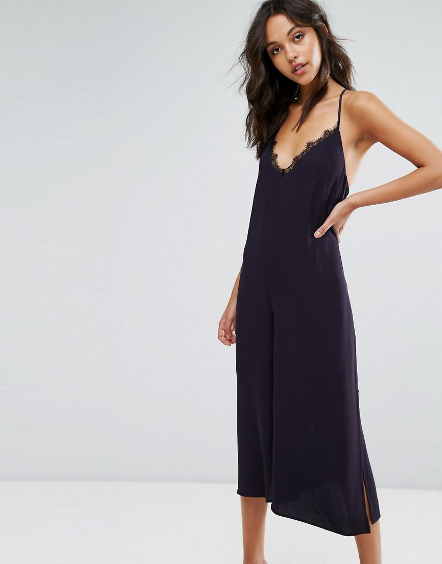 4b16938475 French Connection Navy Lace Detail Jumpsuit in Blue - Lyst