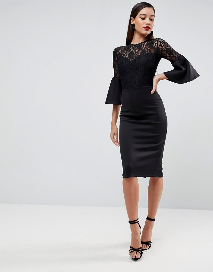 29b454c72070 ASOS Asos Lace Top Fluted Sleeve Bodycon Midi Dress in Black - Lyst