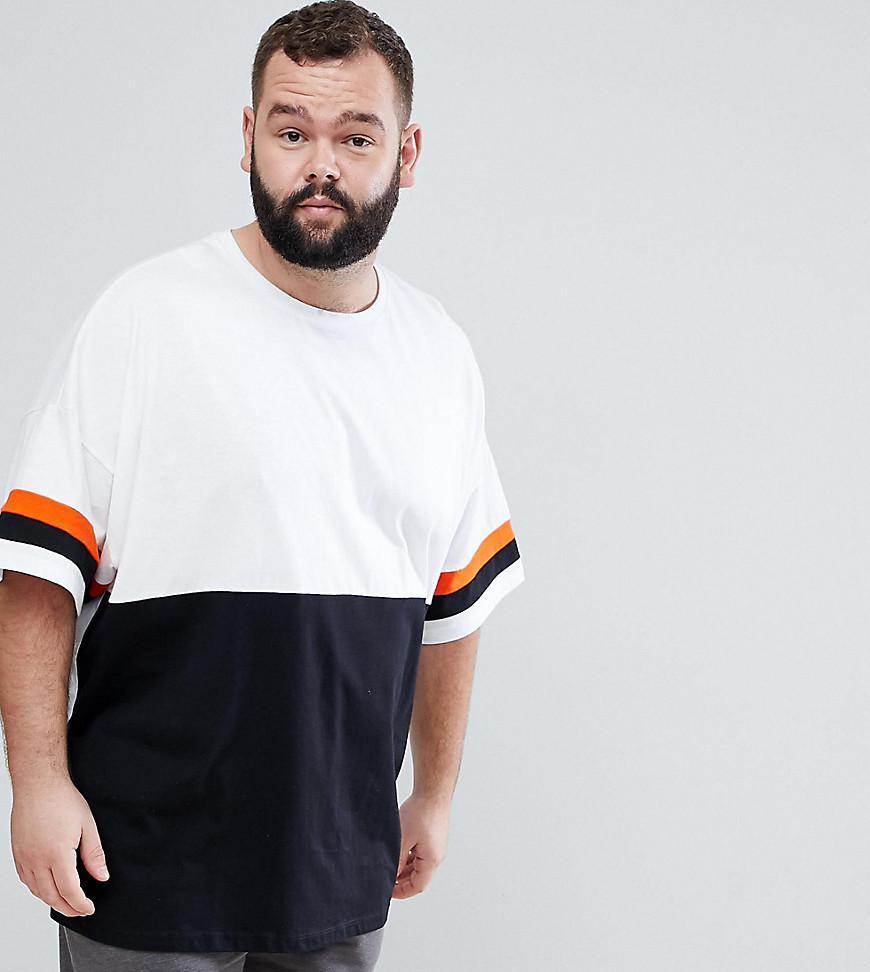 ASOS. Men's Black Plus Longline Oversized T-shirt With Contrast Colour Block
