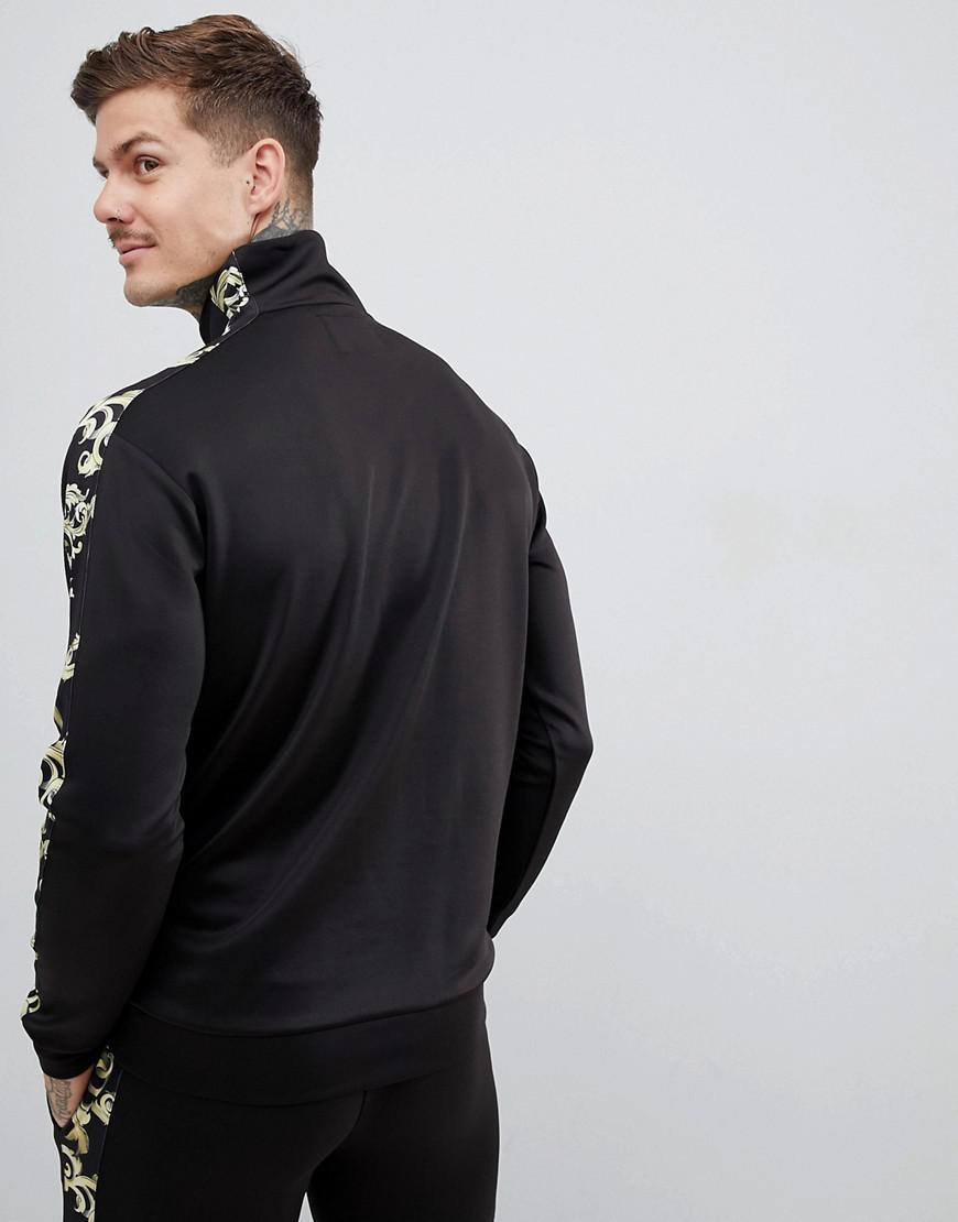 3812a3dbf8b7 SIKSILK Overhead Half Zip Track Jacket In Black With Baroque Side Stripe in  Black for Men - Lyst