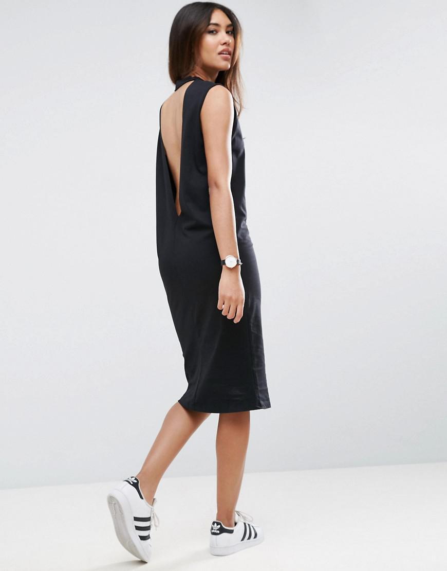 Lyst asos midi sleeveless t shirt dress with v back in black for Midi shirt dress black