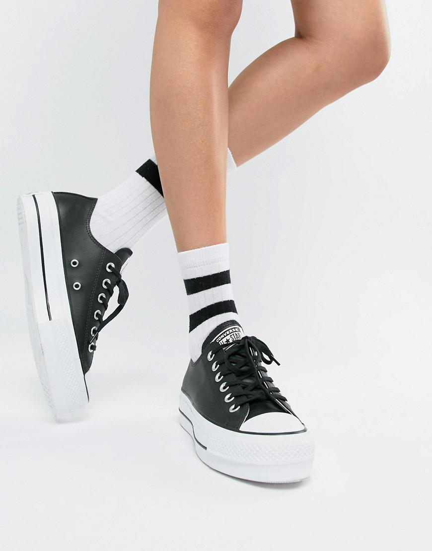 a0e01826b81 Lyst - Converse Chuck Taylor All Star Leather Platform Low Sneakers In  Black in Black