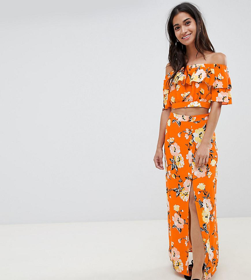 23a433c2690 Lyst - Miss Selfridge Floral Ruffle Printed Bardot Top in Orange