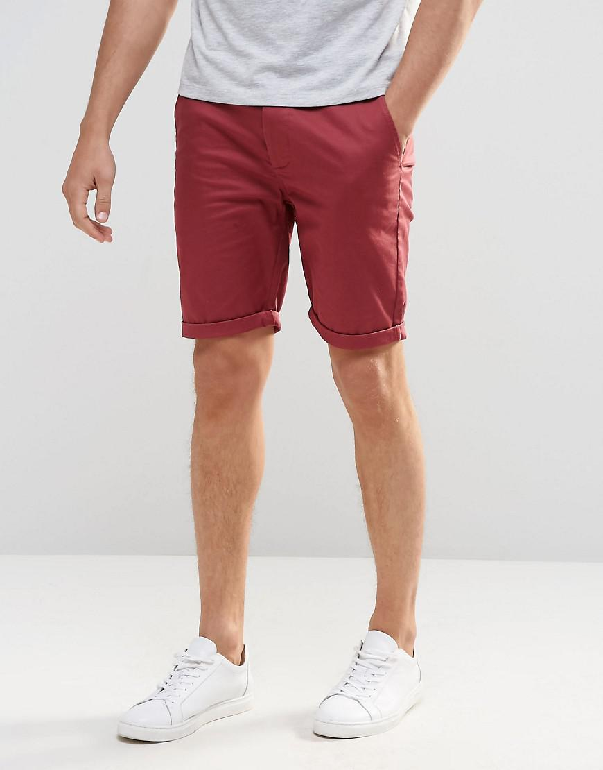 PLUS Skinny Chino Shorts In Burgundy - Berry Asos zBoqChqXK