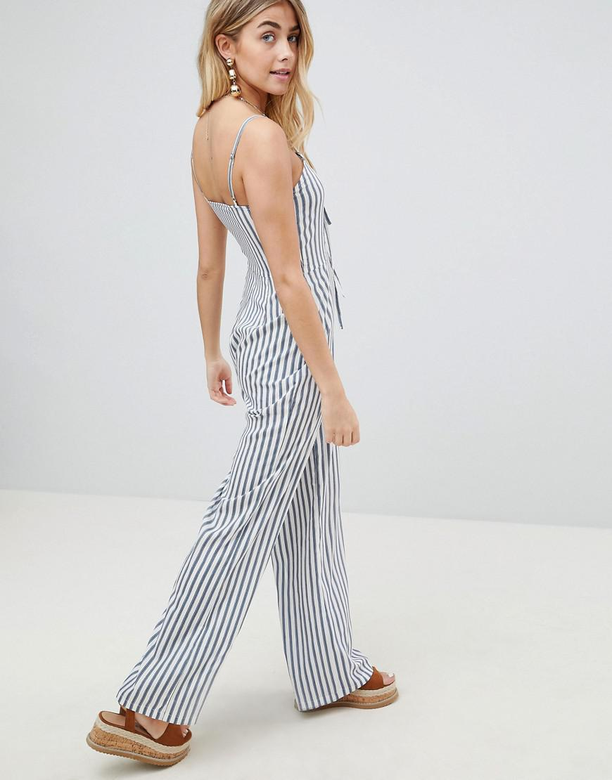 798823c576e0 Lyst - PrettyLittleThing Striped Jumpsuit in Blue