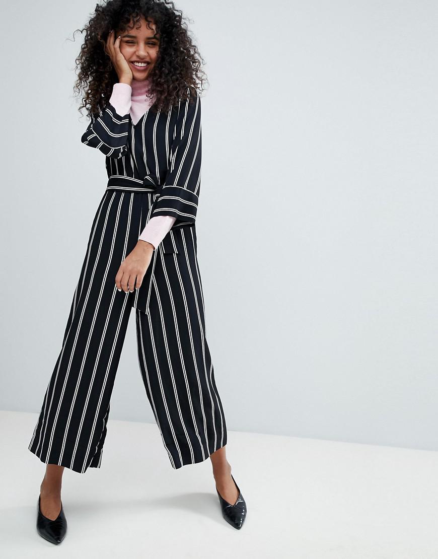 07df0822b4aa Monki Striped Wrap Front Jumpsuit in Black - Lyst