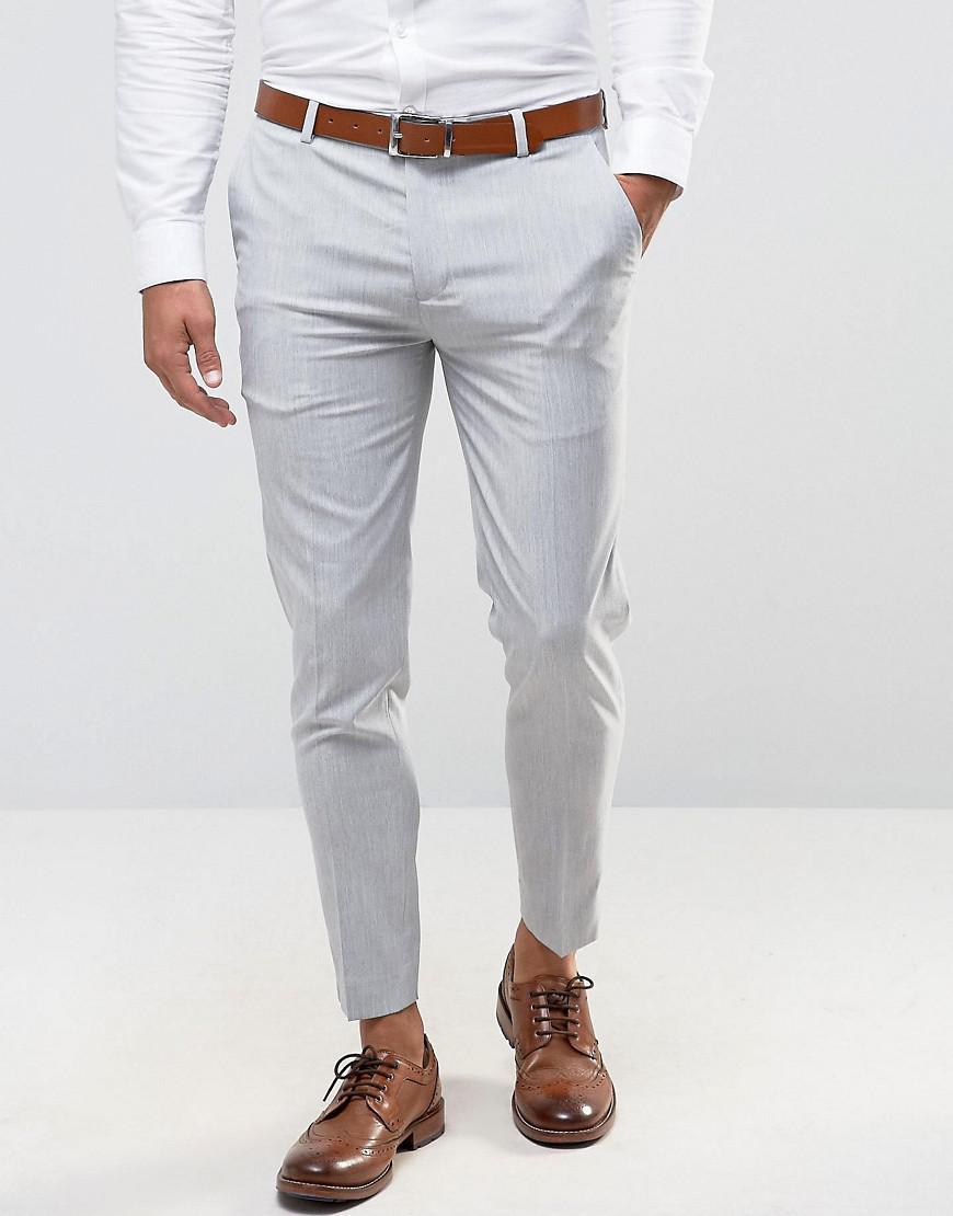 PLUS Super Skinny Cropped Smart Trousers in Grey - Grey Asos BVIeYNQ1