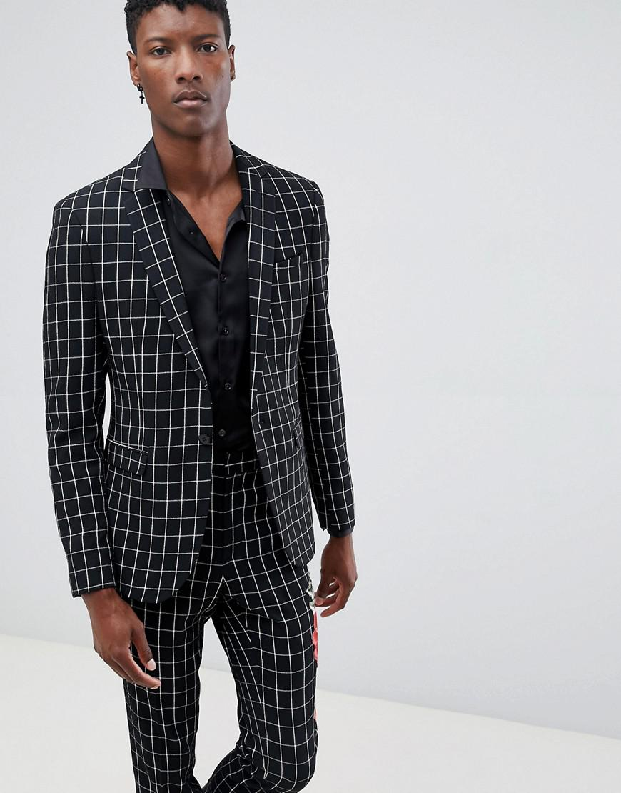 Men\u0027s Skinny Suit Jacket In Black And White Check With Embroidery