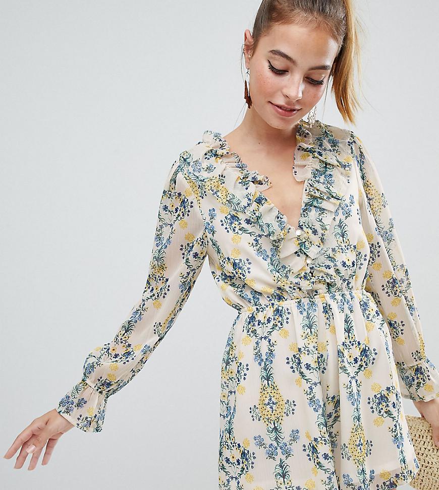 53beea0c8e ASOS. Women s Asos Design Petite Playsuit In Crinkle Chiffon And Floral  Print