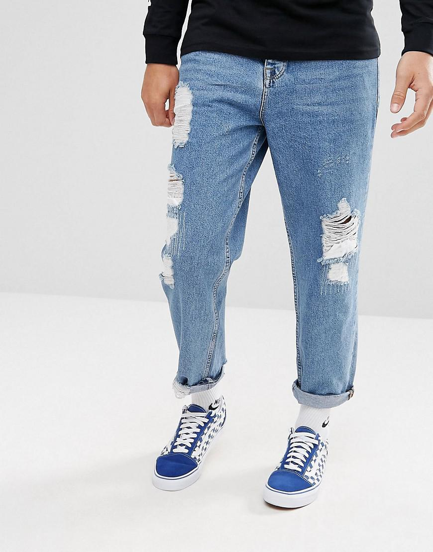 a390733c84e9 ASOS Asos Skater Jeans In Vintage Mid Wash Blue With Heavy Rips in ...