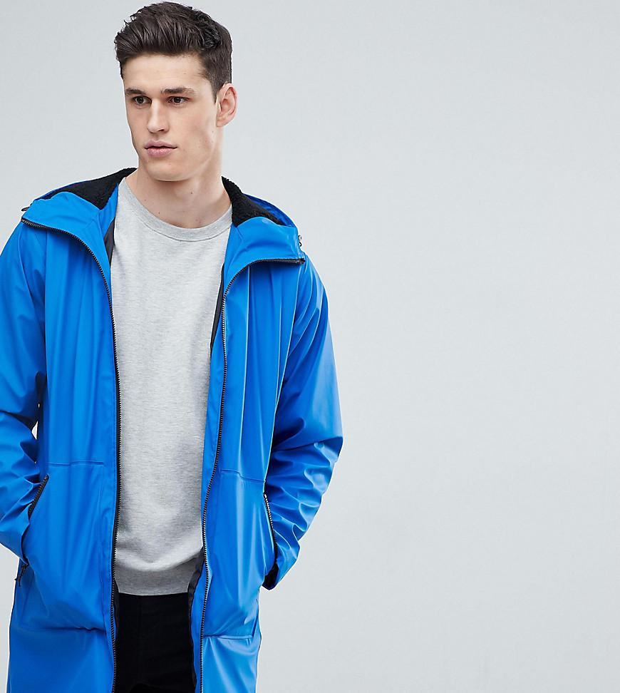 TALL Shower Resistant Rain Coat With Borg Lined Hood In Blue - Blue Asos Footlocker Finishline Free Shipping Shopping Online Cheap Popular Buy Sale Online Discount 2018 eRxpqbE3s4