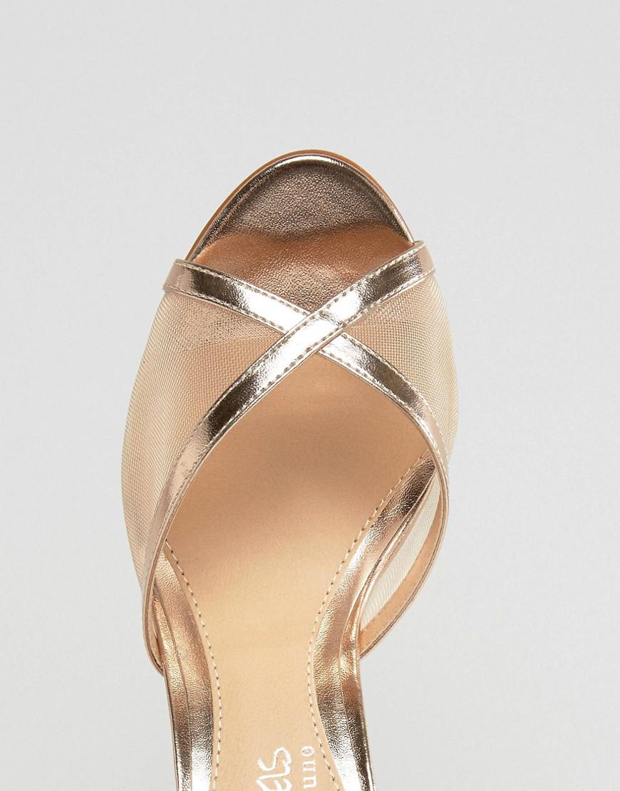 facc4d312ac3 Dune By Dune Meryl Rose Gold Heeled Sandals in Metallic - Lyst