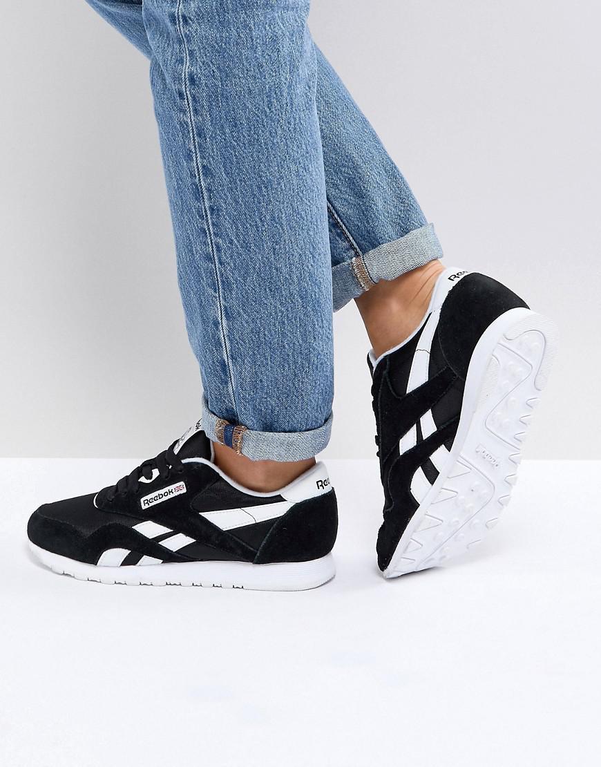 c90d3c5e8e7 Reebok - Classic Nylon Sneakers In Black And White - Lyst. View fullscreen