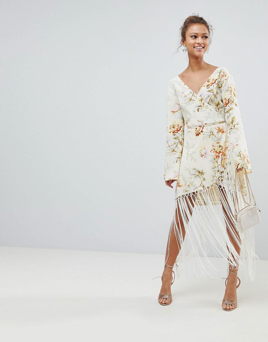 77eaeee12eade ASOS Wrap Dress In Floral Print With Fringe Detail - Lyst