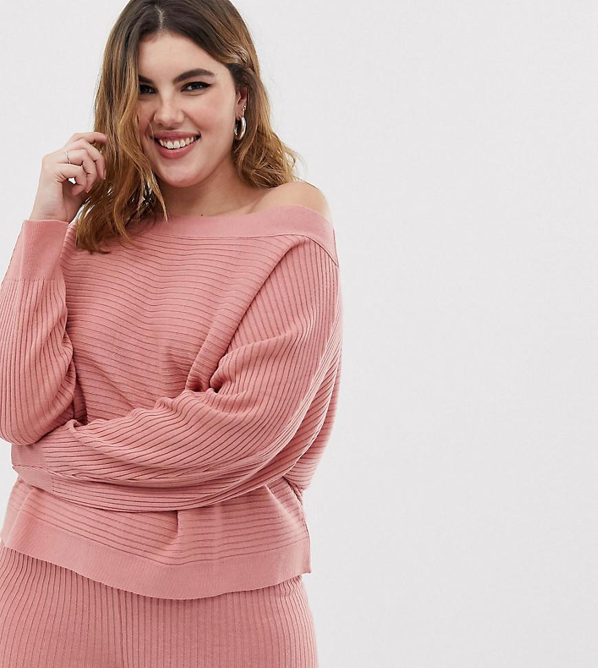 8e37a6662ff9f0 ASOS. Women s Pink Asos Design Curve Lounge Knitted Rib Off Shoulder Sweat