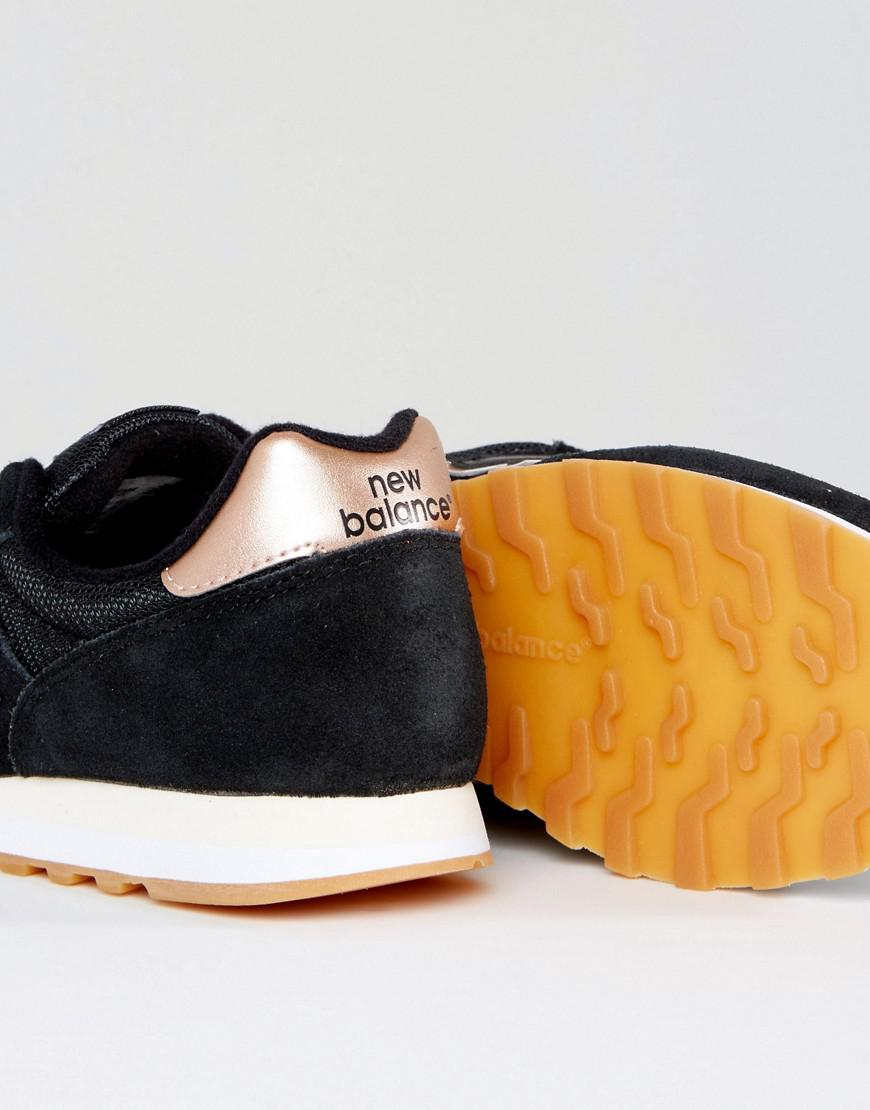 latest releases various design luxury aesthetic New Balance Suede 373 Trainers In Black With Rose Gold Trim ...