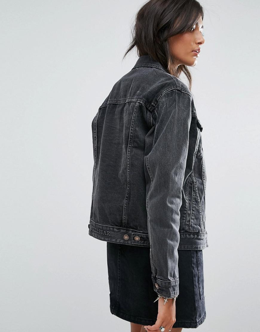 Lyst - Pull&Bear Oversized Denim Jacket in Black