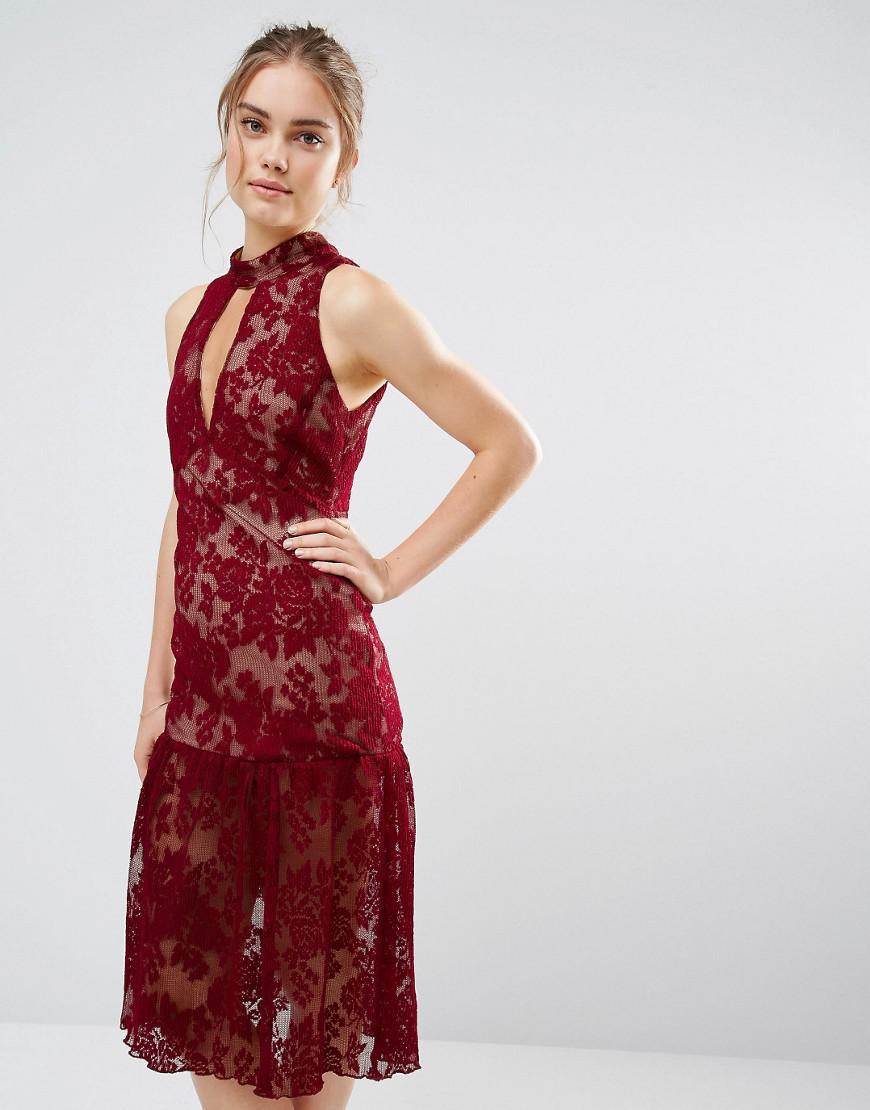 72b8e87173 Endless Rose Frill Hem Key Hole Lace Dress in Red - Lyst