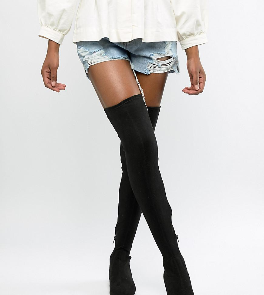 1261bcd4283 ASOS Kelby Flat Elastic Thigh High Boots in Black - Lyst