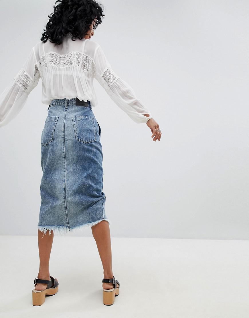 e809a3e286 One Teaspoon Festival Mid Length Denim Skirt in Blue - Lyst
