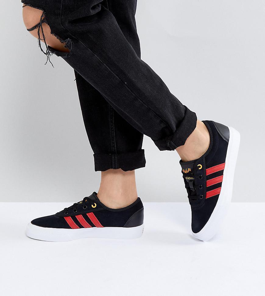 Patin Adidas Formateurs Adi-embarquement Facilité Avec La Langue Logo Adidas - Noir Prix Bas 1o0dn0