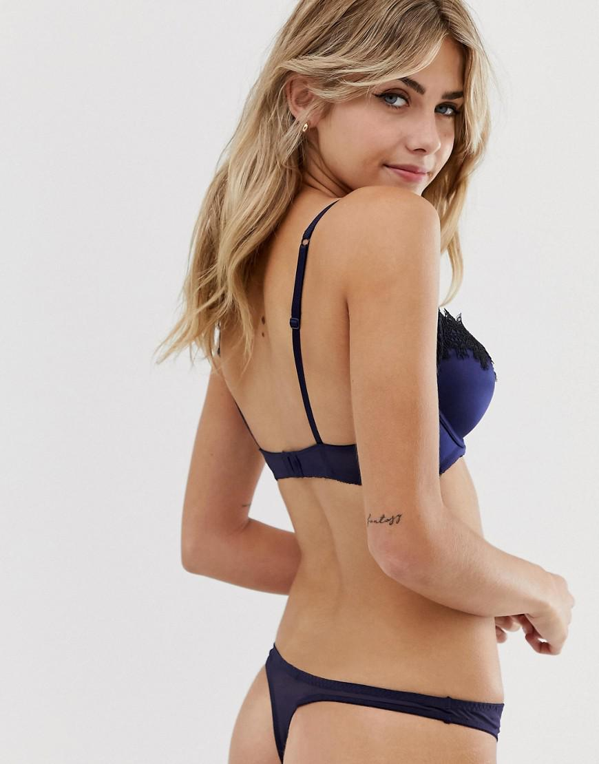 0fe99b92dfdf41 New Look Satin And Lace Thong In Navy in Blue - Lyst