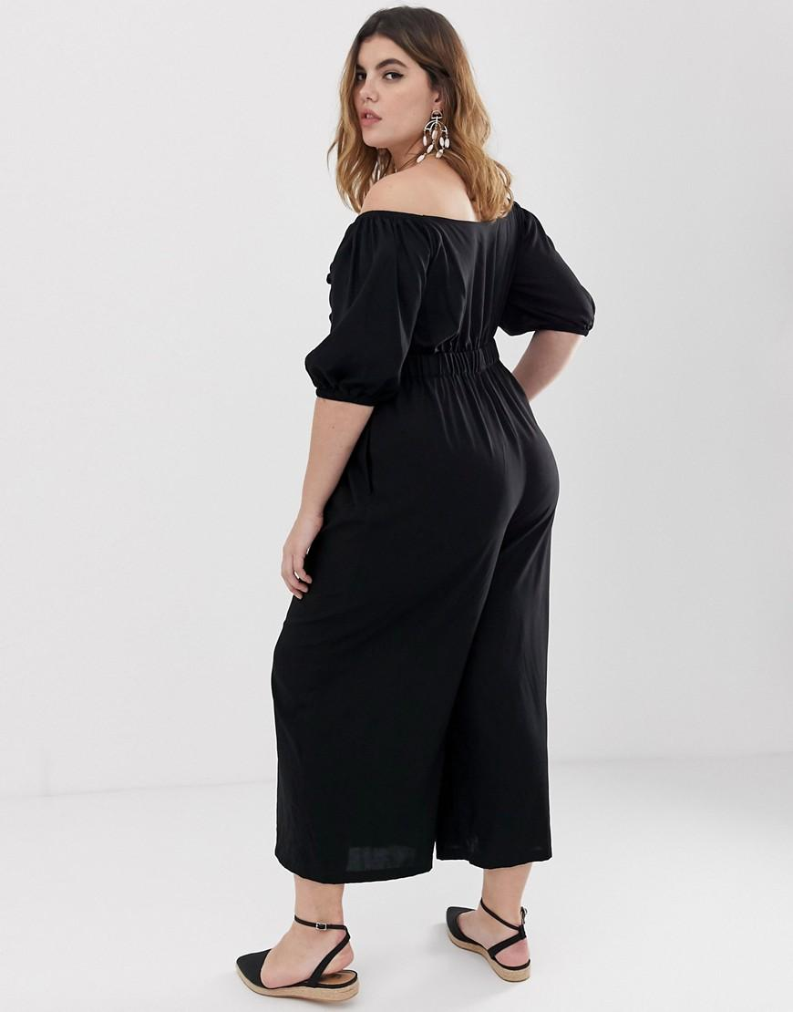 9fe6182665d Lyst - ASOS Asos Design Curve Tea Jumpsuit With Puff Sleeve And Tie Detail  in Black