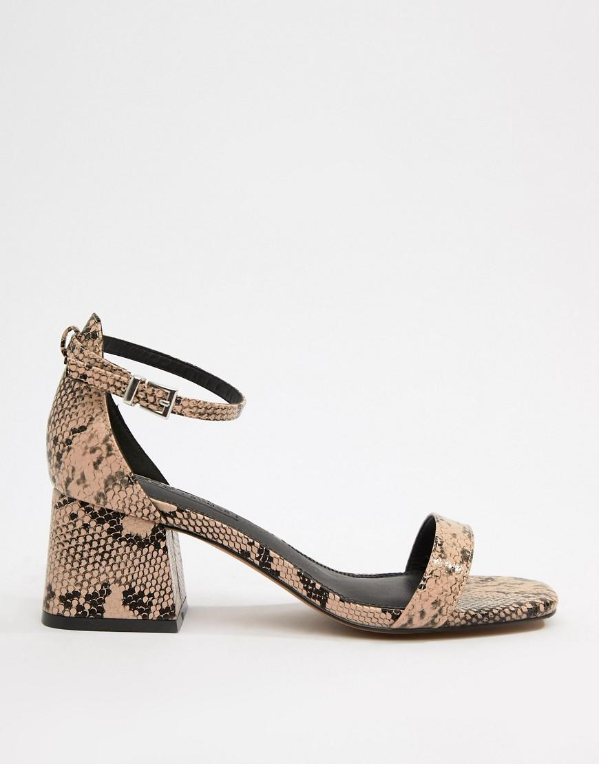 3c2b1c1966b Lyst - ASOS Wide Fit Honeydew Block Heeled Sandals In Snake Print