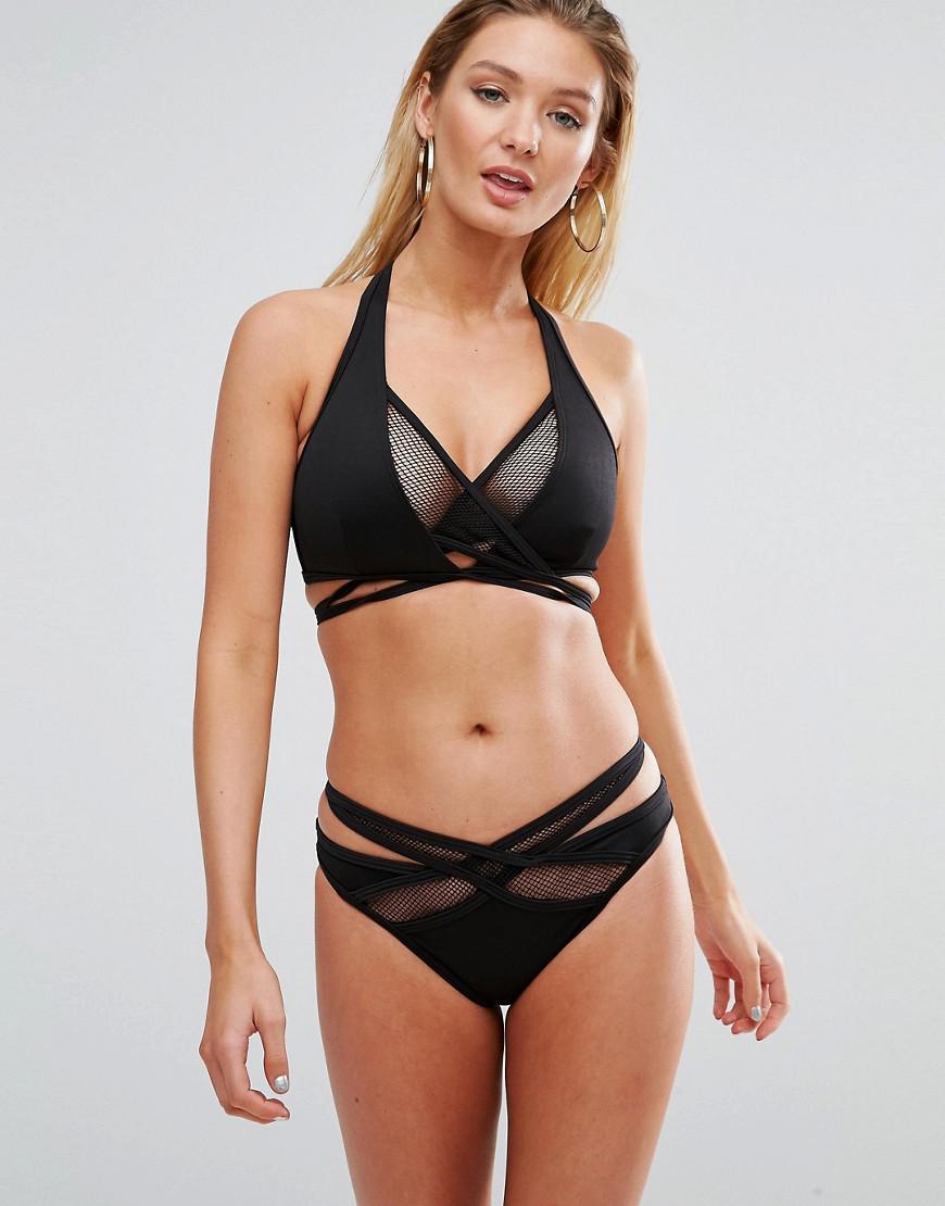 Cheap Sale In China Scuba Fishnet Wrap Bikini Top - Black Asos Discount 2018 Cheap Sale Store LxFsgvw