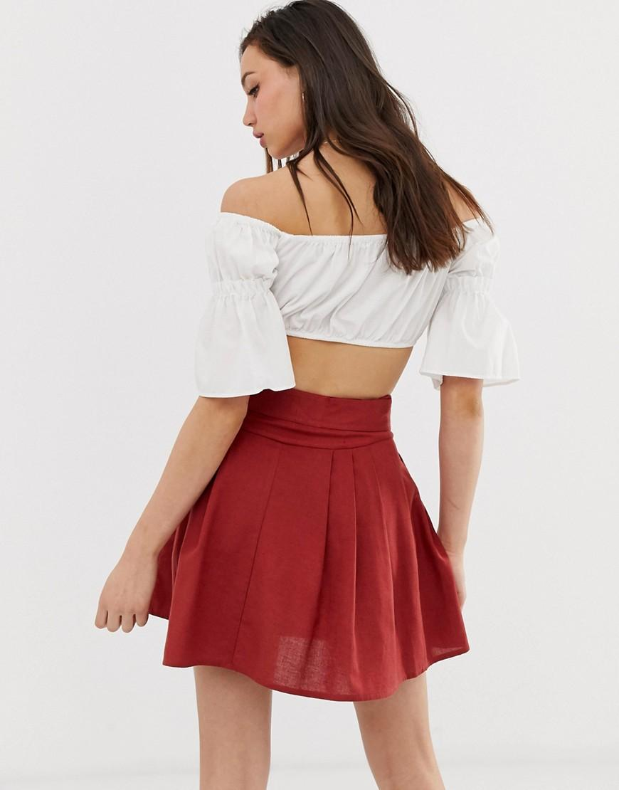 68078b78a2 Lyst - ASOS Asos Design Tall Tie Front Mini Skirt In Cotton in Red