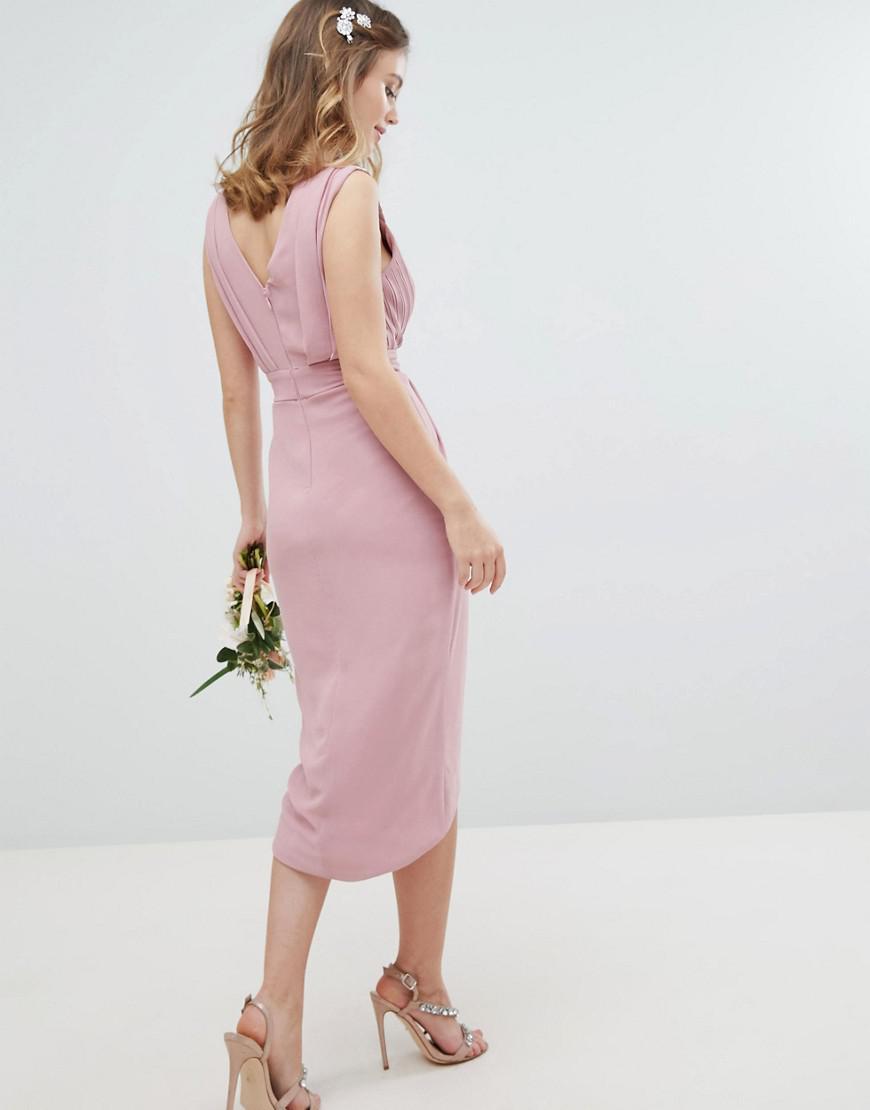 d2b4f77b0a9d TFNC London Wrap Embellished Midi Bridesmaid Dress in Pink - Lyst