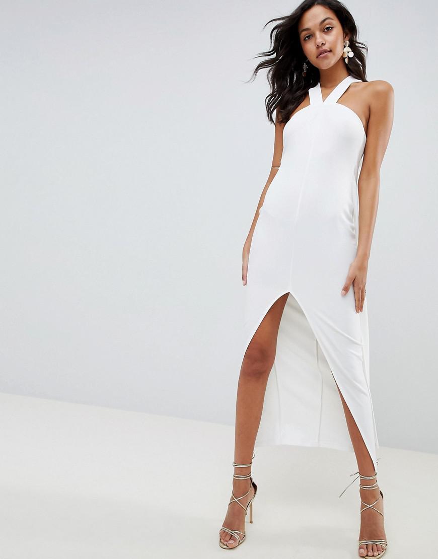 fa2a8e0c91af ASOS Strappy Cape Maxi Dress in White - Lyst