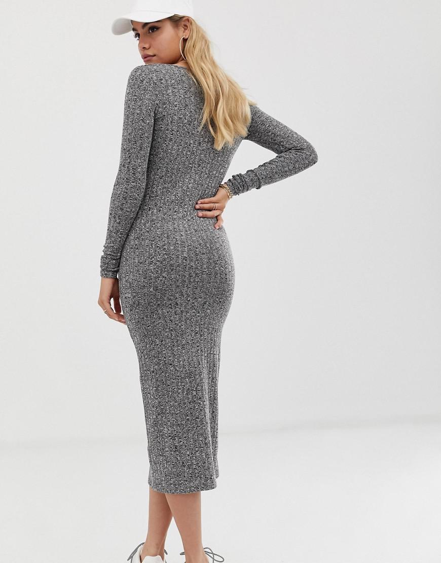 588c064b9f0d6 Lyst - ASOS Marl Rib Button Through Midi Dress in Gray