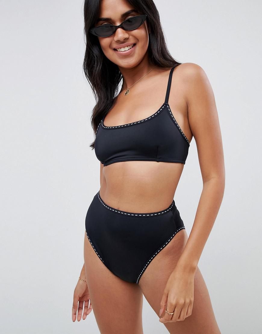 86feec3b48106 Asos Recycled Mix And Match Weave Stitch High Leg High Waist Bikini ...